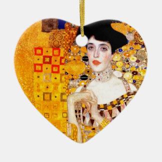 Gustav Klimt Adele Bloch-Bauer Vintage Art Nouveau Double-Sided Heart Ceramic Christmas Ornament