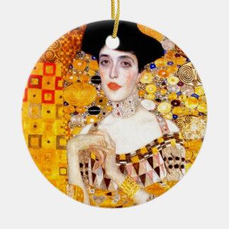 Gustav Klimt Adele Bloch-Bauer Vintage Art Nouveau Double-Sided Ceramic Round Christmas Ornament