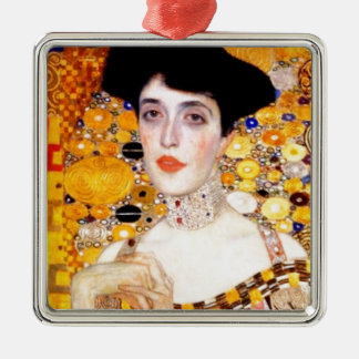 Gustav Klimt Adele Bloch-Bauer Vintage Art Nouveau Square Metal Christmas Ornament