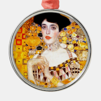 Gustav Klimt Adele Bloch-Bauer Vintage Art Nouveau Round Metal Christmas Ornament