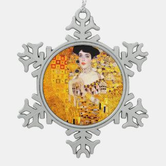 Gustav Klimt Adele Bloch-Bauer Vintage Art Nouveau Snowflake Pewter Christmas Ornament