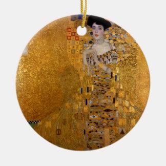 Gustav Klimt // Adele Bloch-Bauer's Portrait. Double-Sided Ceramic Round Christmas Ornament