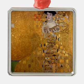 Gustav Klimt // Adele Bloch-Bauer's Portrait. Square Metal Christmas Ornament