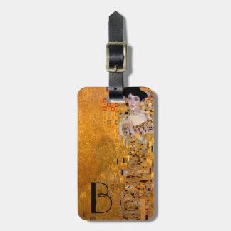 Gustav Klimt Adele Portrait Monogrammed Luggage Tag