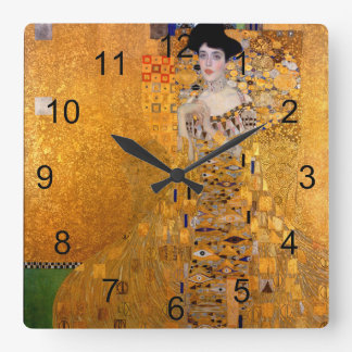 Gustav Klimt Adele Portrait Vintage Square Wall Clock