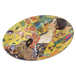 Gustav Klimt and Lady with fan Dinner Plate