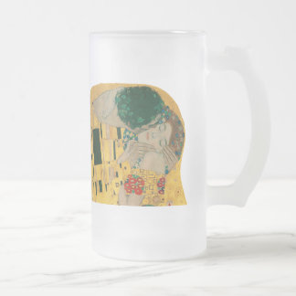 Gustav Klimt and The Kiss Frosted Glass Beer Mug