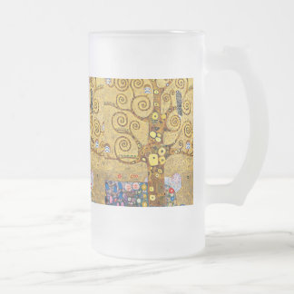 Gustav Klimt and The Tree of Life Frosted Glass Beer Mug