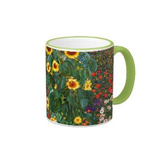 Gustav Klimt art - Farm Garden with Sunflowers Ringer Mug