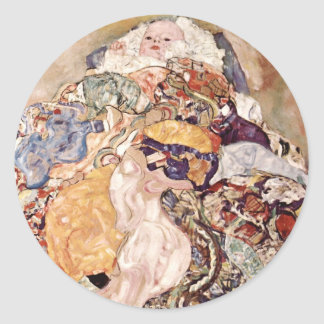 Gustav Klimt ~ Baby Classic Round Sticker
