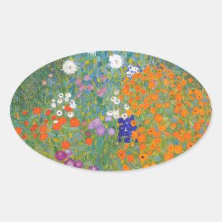 Gustav Klimt // Bauerngarten // Farm Garden Oval Sticker