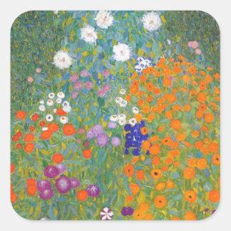 Gustav Klimt // Bauerngarten // Farm Garden Square Sticker