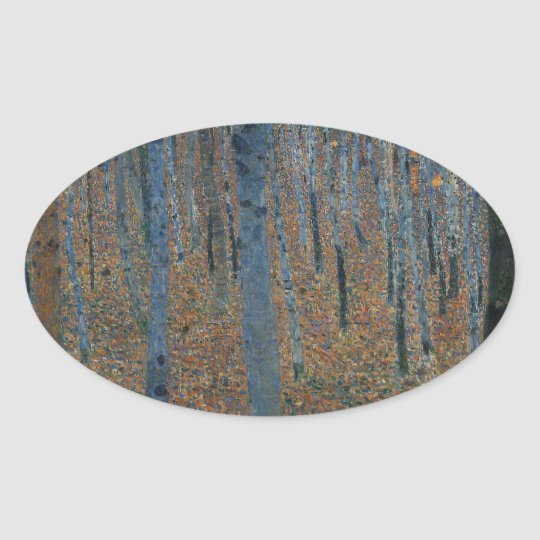 Gustav Klimt  Beech Grove Oval Sticker