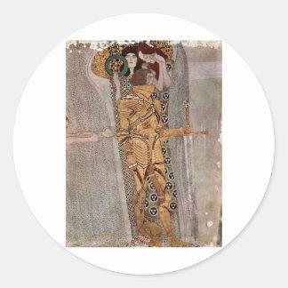 Gustav Klimt ~ Beethovenfries Classic Round Sticker
