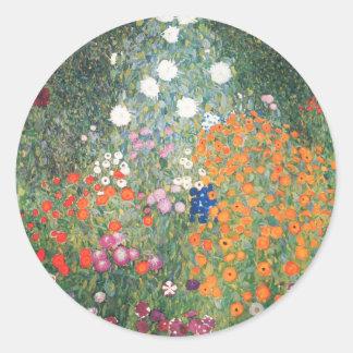 Gustav Klimt Blumengarten Classic Round Sticker