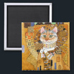 """Gustav Klimt Cat in Gold spoof magnet<br><div class=""""desc"""">This is a spoof of Gustav Klimt&#39;s portrait painting of Adele Bloch-Bauer,  also known as &quot;The Woman in Gold.&quot;  Because my version features a cat,  it&#39;s titled &quot;The Cat in Gold.&quot;  This image is also available on other products in my Zazzle store.</div>"""