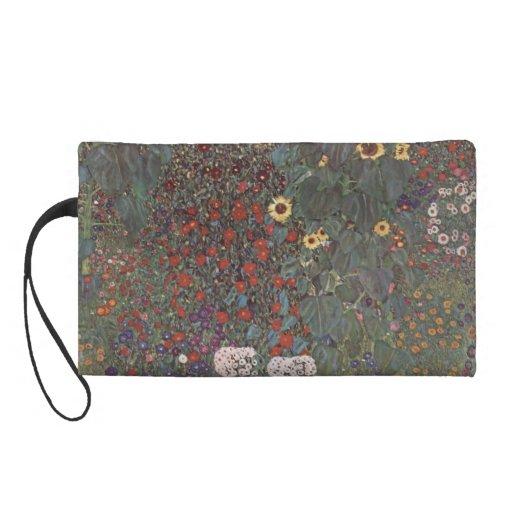 Gustav Klimt- Country Garden with Sunflowers Wristlet Purses