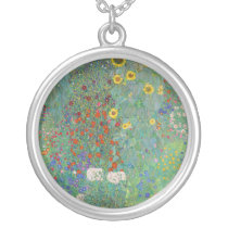 Gustav Klimt - Country Garden with Sunflowers Silver Plated Necklace