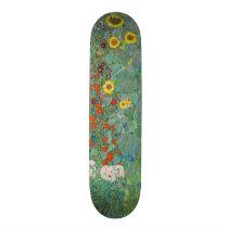 Gustav Klimt - Country Garden with Sunflowers Skateboard