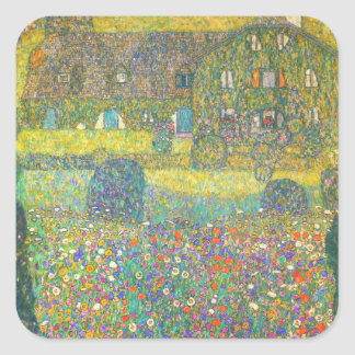 Gustav Klimt Country House by the Attersee Square Stickers