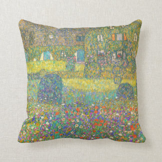 Gustav Klimt Country House by the Attersee Throw Pillow