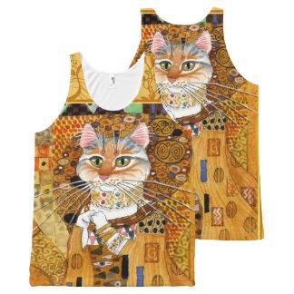 Gustav Klimt cute Cat in Gold spoof tank All-Over Print Tank Top