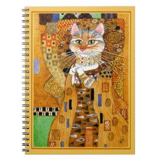 Gustav Klimt cute cat spoof notebook