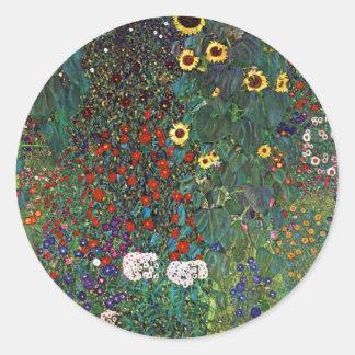 Gustav Klimt Farm Garden with Sunflowers Classic Round Sticker