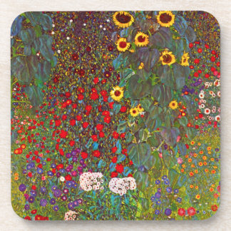 Gustav Klimt Farm Garden with Sunflowers Coasters