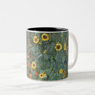 Gustav Klimt Farm Garden with Sunflowers GalleryHD Two-Tone Coffee Mug