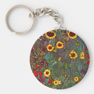 Gustav Klimt Farm Garden with Sunflowers Key Chain