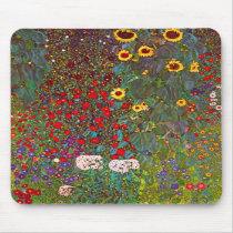 Gustav Klimt Farm Garden with Sunflowers Mouse Pad