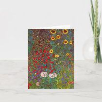 Gustav Klimt Farm Garden with Sunflowers Note Card