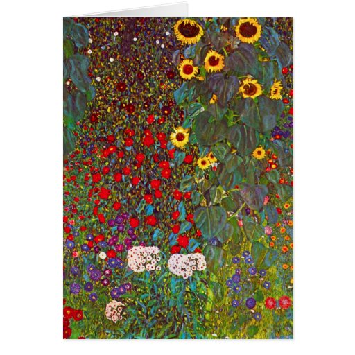 Gustav Klimt Farm Garden with Sunflowers Note Card