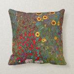 Gustav Klimt Farm Garden with Sunflowers Pillow