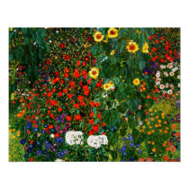Gustav Klimt - Farm Garden with Sunflowers Poster