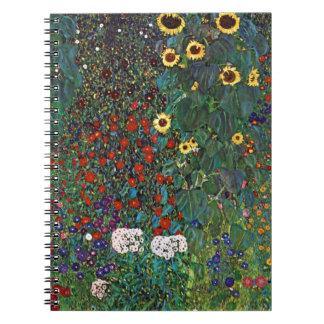 Gustav Klimt Farm Garden With Sunflowers Spiral Notebook