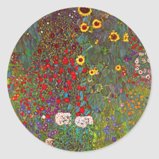 Gustav Klimt Farm Garden with Sunflowers Stickers