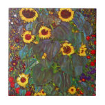 """Gustav Klimt Farm Garden with Sunflowers Tile<br><div class=""""desc"""">Gustav Klimt Farm Garden with Sunflowers tile. Oil painting on canvas from 1905-06. Though Klimt is most recognized for his gold period that produced classic works like The Kiss and Portrait of Adele Bloch Bauer, the artist also produced some tremendously charming landscape paintings. Garden Farm with Sunflowers features a rich...</div>"""