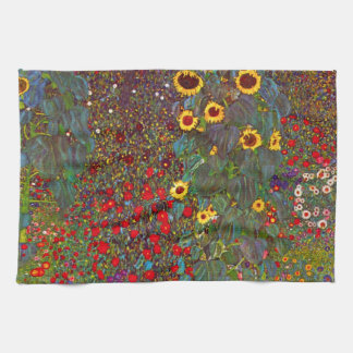 Gustav Klimt Farm Garden with Sunflowers Towel