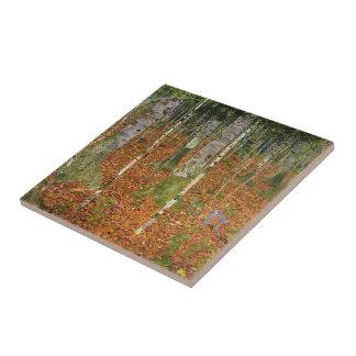 Gustav Klimt- Farmhouse with Birch Trees Ceramic Tile