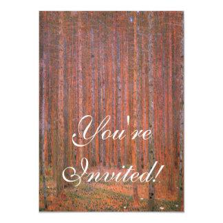 Gustav Klimt Fir Forest Tannenwald Red Trees 4.5x6.25 Paper Invitation Card