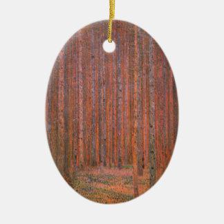 Gustav Klimt Fir Forest Tannenwald Red Trees Ceramic Ornament