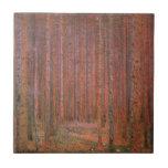 Gustav Klimt Fir Forest Tannenwald Red Trees Ceramic Tile