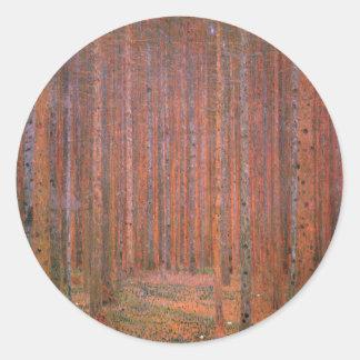 Gustav Klimt Fir Forest Tannenwald Red Trees Classic Round Sticker