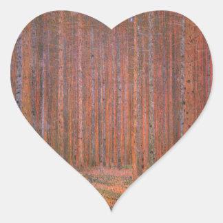 Gustav Klimt Fir Forest Tannenwald Red Trees Heart Sticker