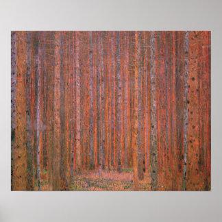 Gustav Klimt Fir Forest Tannenwald Red Trees Poster
