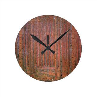 Gustav Klimt Fir Forest Tannenwald Red Trees Round Clock