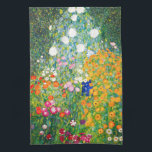 """Gustav Klimt Flower Garden Kitchen Towel<br><div class=""""desc"""">Gustav Klimt Flower Garden kitchen towel. Oil painting on canvas from 1907. Completed during his golden phase, Flower Garden is one of Klimt's most famous landscape paintings. The summer colors burst forth in this work with a beautiful mix of orange, red, purple, blue, pink and white blossoms. A great gift...</div>"""