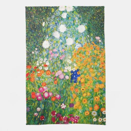 Gustav Klimt Flower Garden Kitchen Towel